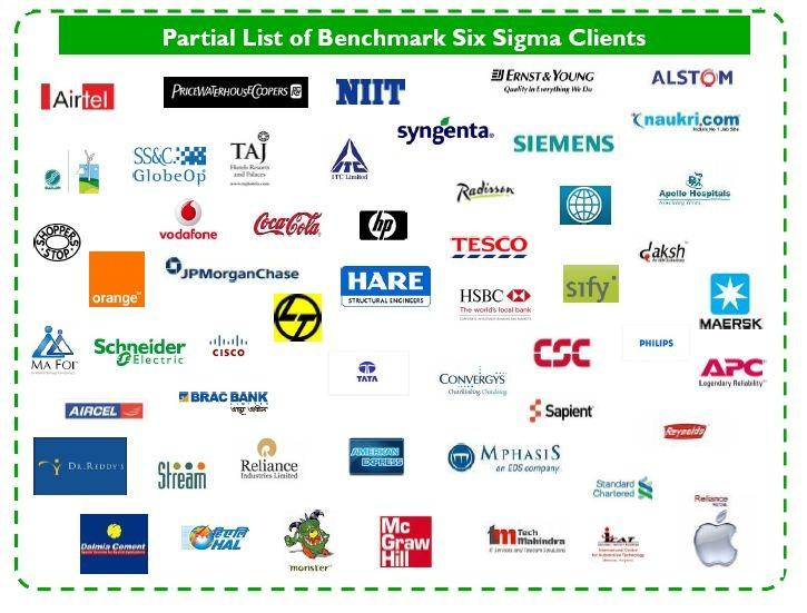 Benchmark Six Sigma Partial Client List